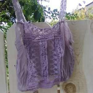 Free People dusty lilac lavender lace button cami